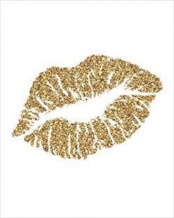 gold glitter lips
